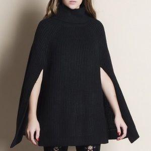 Hayden Charcoal Cape Turtleneck Sweater - Size S
